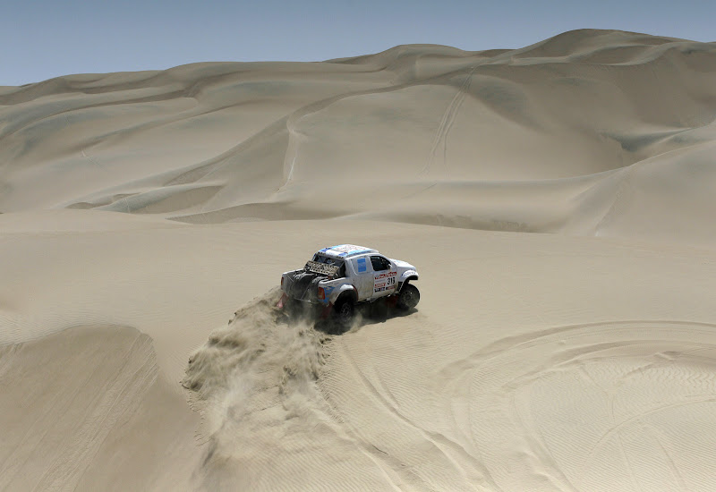Toyota's driver Ezequiel Alvarez and co-driver Rolando Graue, both from Argentina, compete in the 12th stage of the 2012 Argentina-Chile-Peru Dakar Rally between Arequipa and Nazca in Peru, Friday, Jan. 13, 2012. (AP Photo/Martin Mejia)