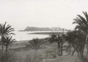 Vapor CAROLINA saliendo de Mazarrón rumbo a Cartagena. Foto H. Nonnast. Del libro MAZARRON 1900