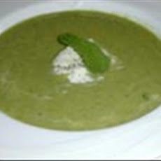 Green Pea Soup with Mint Gelato