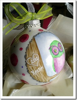 Pretty Little Purple & Green Owl Ornament