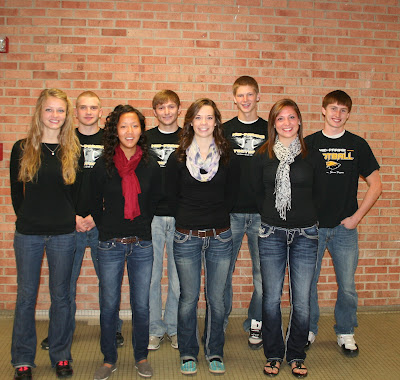 Front Row (L to R) Olivia Lugar, Leah Parrott, Kari Horesowsky, Michelle Erwin Back Row (L to R) David Aldeman, Logan Wadsworth, Chase Murray, Ryan Hoffman.  Photo Courtesy:  Mid-Prairie School District.