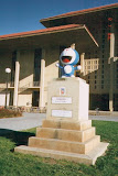 Doraemon subbing for Stanford's copy of The Thinker statue when it was temporarily removed in 2001.