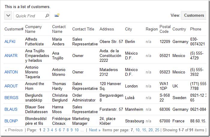 Lookup list of Customers