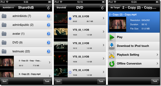 Air Playit applicazione dispositivi Apple - Lista file condivisi