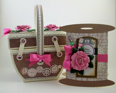 Sewing Basket and Spool of Thread Card