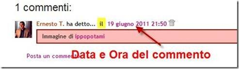 ora e data commento spostati in alto su Blogger