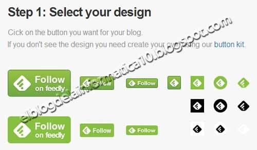 Botón Feedly para blog - 1º paso seleccionar el diseño del botón
