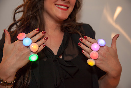 Cosmic Rings by Bongo Flashers- Colleen illustrates all the colors that just ONE ring cycle through magically!