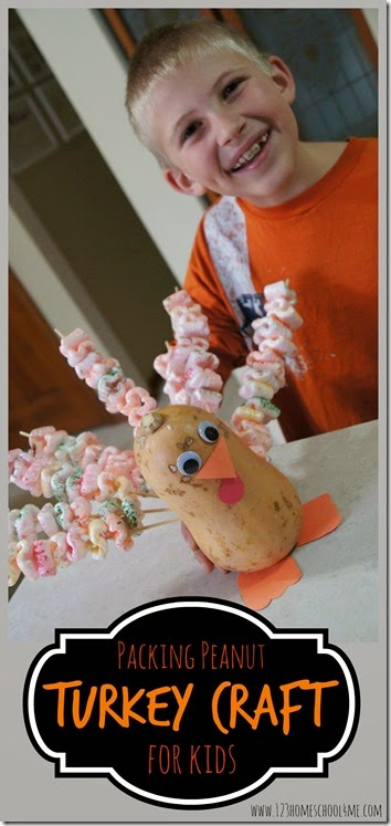Packing Peanut Turkey Craft for Kids - This is such a cute craft for kids to make in November and a great decoration for Thanksgiving table! I love the creative way it reuses packing peanuts. Great kids activities for preschool, kindergarten, 1st grade, 2nd grade, 3rd grade kids. LOVE THIS!