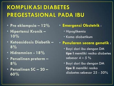 KOMPLIKASI DIABETES PREGESTASIONAL PADA IBU