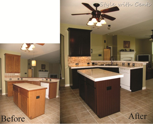 $750 total kitchen remodel sherwin williams turkish coffee bead board cabinets kitchen before after3