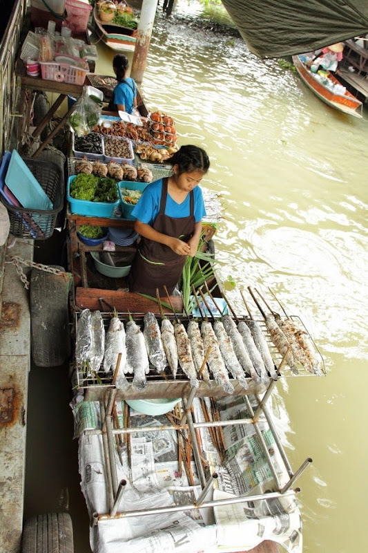 Food Stalls at Taling Chan Floating Market, Bangkok
