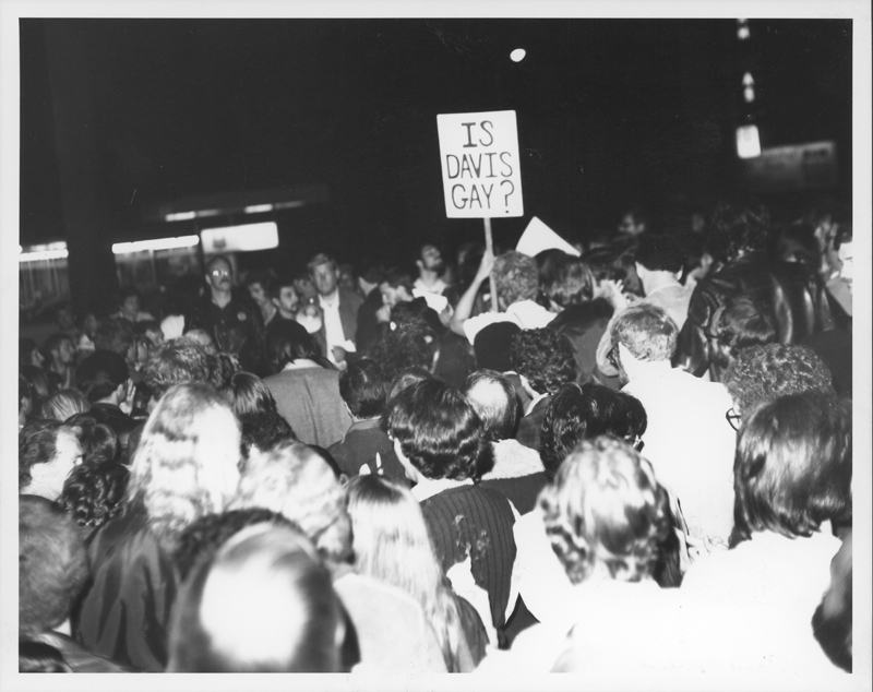 Demonstrators gather at a protest against the Los Angeles Police Department and police chief Ed Davis. 1975.