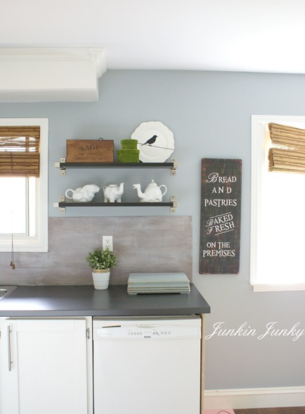 Weathered wood plank backsplash at Junkin Junky