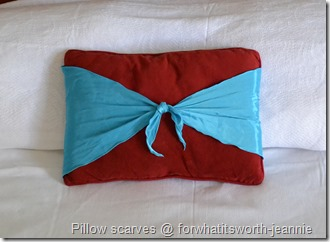 scarf tied pillow