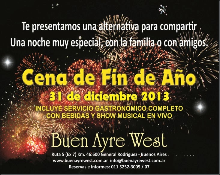 CENA EXCLUSIVA DE FIN DE AÑO 2013
