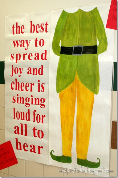 Elf inspired Bulletin Board from mudpiereviews.blogspot.com