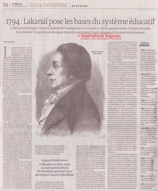expansionisme educatiu francés en una pagina de Le Monde
