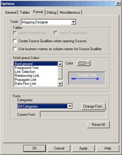 Informatica designer properties