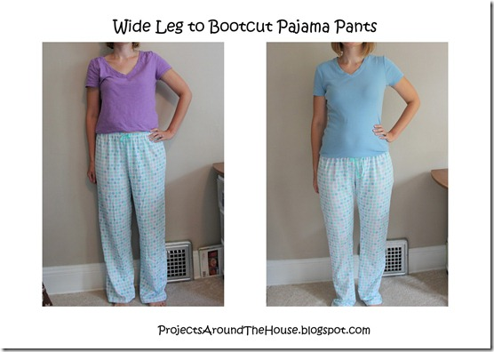wide leg to bootcut pajama pants, refashion