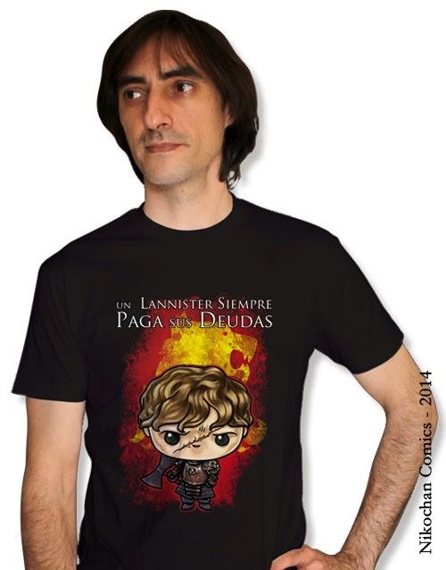 Camiseta unisex inspirada en Juego de Tronos (Un Lannister siempre paga sus Deudas) con Tyrion Lannister versión kawaii