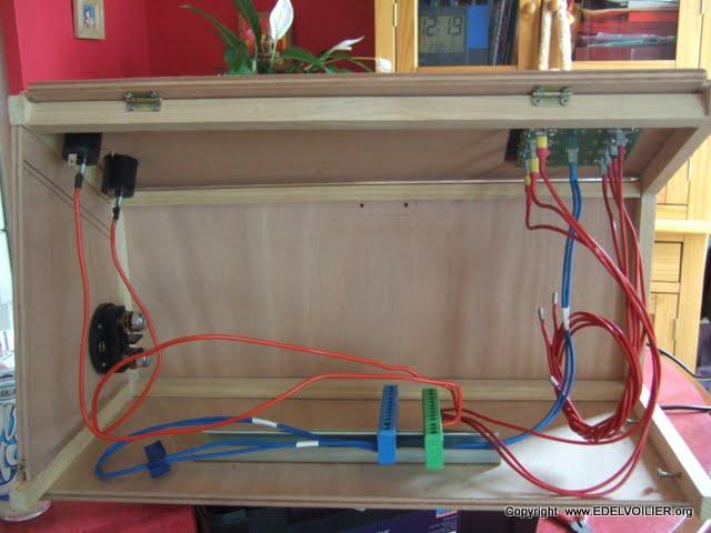 2 borniers electrique de 10 cnx pour regrouper les + et - (le vert est prévu pour la terre mais là yavait plus que ca comme couleure alors....)