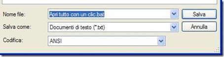 Salvare documento Blocco note con estensione .bat