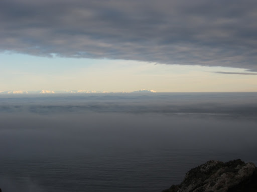 The view from Mount Pond, with the snow-covered mountains of Livingston Island in the distance.