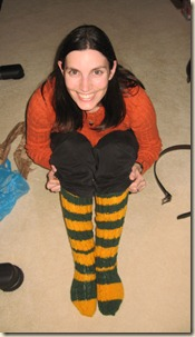 Wendy in her Packers socks