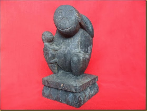 monkey primitive wood statue
