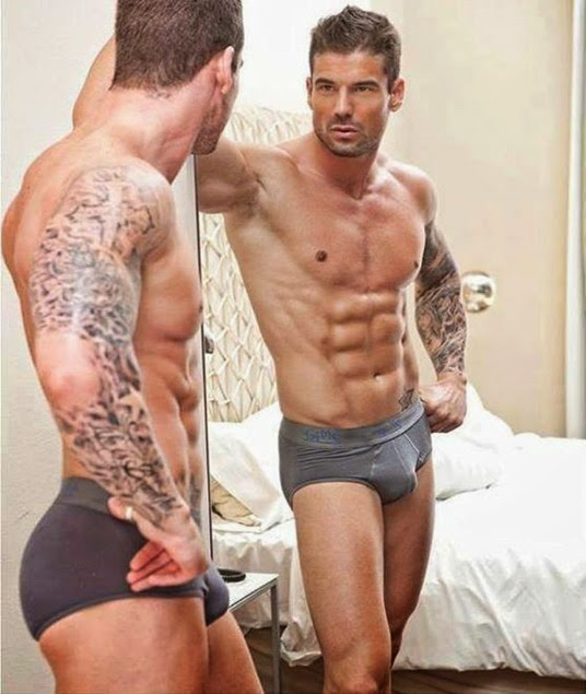 sexy guy in gray briefs