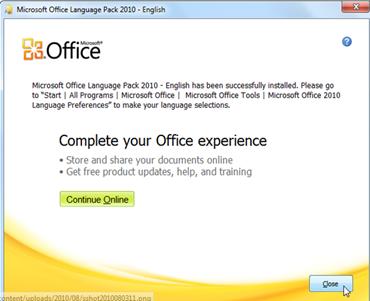 ดาวน์โหลดโปรแกรม Microsoft office langauge pack