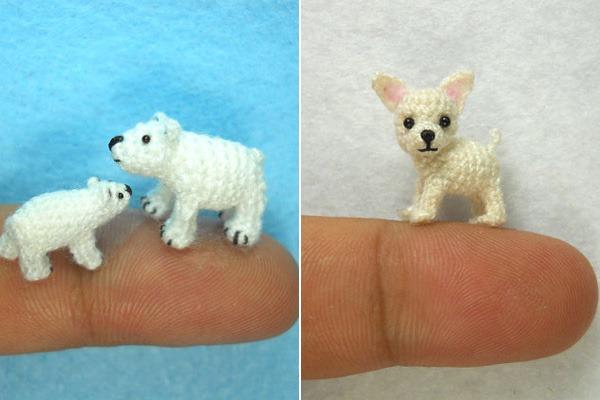 Miniaturas-Animais-Crochê-Urso-Polar-Cachorro