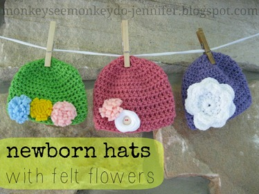 crochet hats felt flowers
