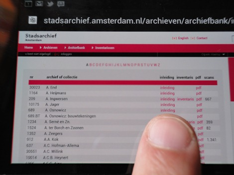 Stadsarchief Amsterdam op smartphone