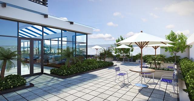 tầng cafe sinh thái trên tầng mái