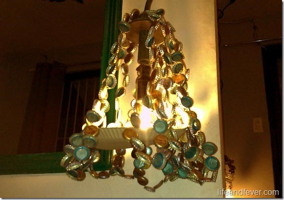 light fixture made of bottle caps