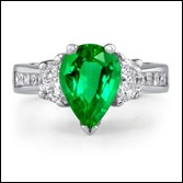 Pear Emerald and Diamond Three Stone Ring in Platinum