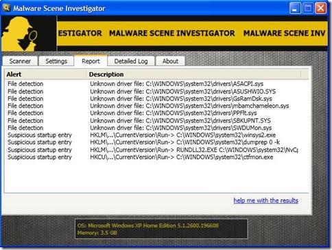 Malware Scene Investigator risultato scansione