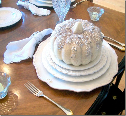 Alex photos &amp; Bling White Pumpkin Tablescape 1573