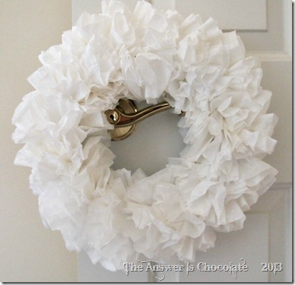 Coffee Filter Wreath Fluffed