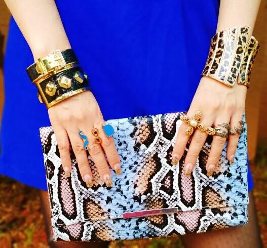 Faux Snakeskin Clutch, Rings, Cuff Bracelets
