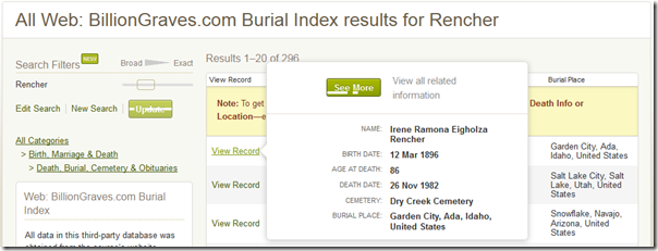 Ancestry.com search results for BillionGraves database