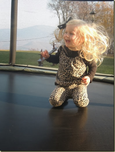 Sienna preferred being on the trampoline alone...