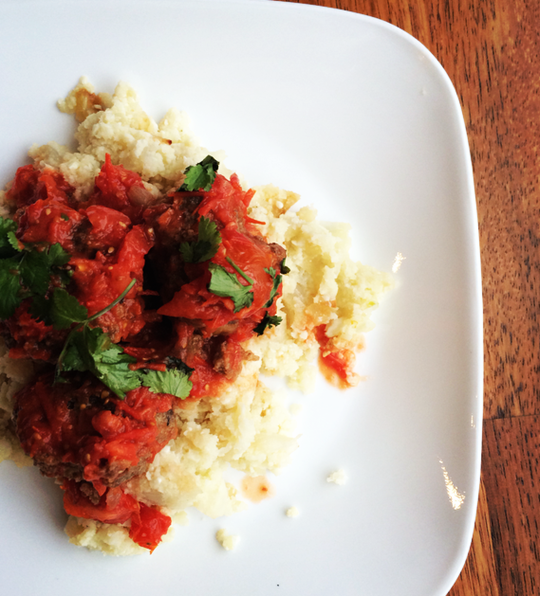 Easy Homemade Cauliflower Rice & Meatballs