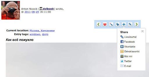 Кнопки для кросспоста записи в штатном интерфейсе ЖЖ