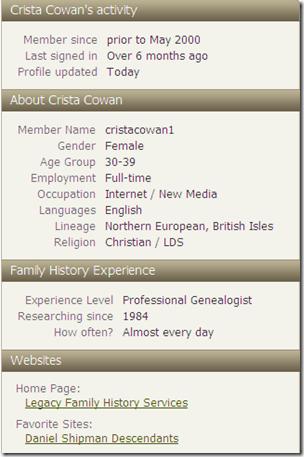 About Crista Cowan, Ancestry.com personal profile