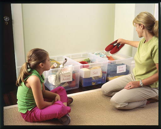 Take an inventory of what you have and sort out items you no longer need.  Set up bins and label them to sort belongings.  Make it a project for the entire family.