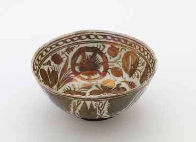 Bowl | Origin:  Iran | Period: 1650-1700  Safavid period | Details:  Not Available | Type: Stone-paste decorated with lustre | Size: H: 8.8  W: 19.3  cm | Museum Code: F1911.320 | Photograph and description taken from Freer and the Sackler (Smithsonian) Museums.