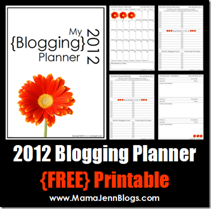 2012 Blogging Planner {FREE Printable}